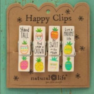 Natural Life Pineapple Happy Chip Clips Pack Of 4